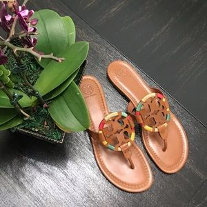 {Tory Burch} Brown Embroidered Miller Sandals